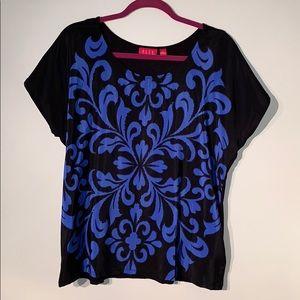 NWOT Black Blouse with Royal Blue Design